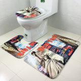 Farben-Sublimation-Wärme-druckte thermische Digital-Übertragung der 2 PCS-oder 3 Stück-gesetztes kundenspezifisches Flanell-korallenrotes Vlies-Antinicht Beleg-Speicher-Schaumgummi-Dusche-Toiletten-Bad-Badezimmer-Matte