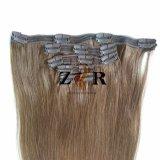 Pinza de pelo brasileña drenada natural del color de Brown en la extensión del pelo humano