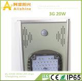2018 Nouvelle conception de la série 3G 20W tous dans une rue lumière solaire avec 160 lm/W 3030 puces LED