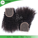 Indian Virgin Human Kinky Curly noir naturel la fermeture de cheveux