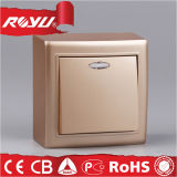 세륨 LED Surface Mounting Golden 86*86size Electric Wall Switch
