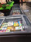 Congelador econômico comercial do console com a porta do vidro do calor