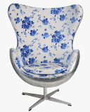 Réplica de fibra de vidro moderna Cadeira de ovo com Base Giratória