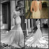 Tiefe V-Ausschnitt Brautkleid-Spitze, die Berta Nixe-Hochzeits-Kleid B16144 bördelt