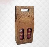 Contenitore di regalo materiale del vino del documento di arte impresso nuovo stile e del documento ondulato, doppio contenitore portatile di vino, sacchetto del vino fine di alta qualità/casella