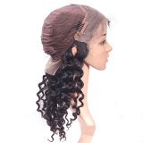 7un pelo de visón NATURAL DEL CABELLO 100% virgen ola pleno encaje peluca