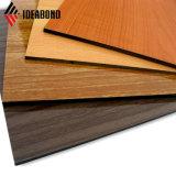 La Decoración de pared de revestimiento interior acabado en madera de Material Compuesto de Aluminio de PE