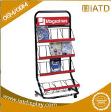 Étalage en aluminium debout de stand de journal de stand de crémaillère de magasin de profil d'étage