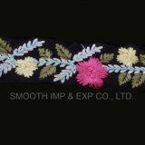 Tessuto multicolore dell'accessorio dell'indumento della guarnizione del merletto del ricamo del fiore di modo 3D
