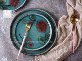 10.5の' 12.5 'の陶磁器のディナー用大皿手の印刷デザイン