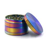 smerigliatrice in lega di zinco dell'erba del Rainbow 4layers di 55mm con il reticolo del filetto