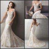 Champagne 신부 드레스 은 구슬로 장식 결혼 예복 S201748