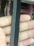 Testo fisso nero del merletto della catena del metallo per il tessuto di cotone di cucito della decorazione dell'abito