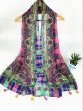 Rétro impression dénommante de voile neuve du type 100%Cotton avec de longues écharpes frangées de mode