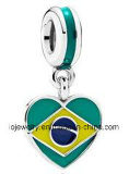 De aangepaste Zachte het Emailleren Charme van de Vlag van het Land van Brazilië van Juwelen