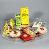 Het ronde Duidelijke Acryl Dienende Dienblad van het Fruit/van het Suikergoed/van de Chocolade met Draagbare Handvatten & Deksels