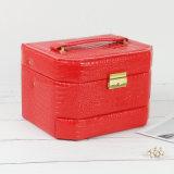 携帯用贅沢PUの革宝石類の装飾的な収納キャビネットボックス白