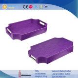 Les nouveaux arrivants de luxe violet Bac de rangement en cuir avec la poignée (6898R1)