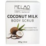 Melaoまたはプライベートラベル340gのココナッツミルクボディはごしごし洗う