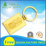 Keychainを広告する安い卸し売りカスタム金属の鉄によって押される正方形の整形リボンのロゴ