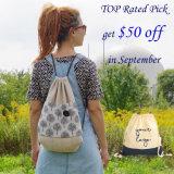 Precio de descuento Natural personalizada algodón Canvas Drawstring Backpack Bag