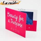 Diseño personalizado Facevideo colorido 10.1 pulgadas LCD, reproductor de medios de comunicación de vídeo de la marca de la tarjeta de invitación de Folleto de producto para el cuidado de piel