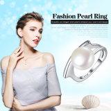 Nieuwe Inzameling 100% 925 Echte Zilveren ZoetwaterRingen van de Gekweekt parel voor de Juwelen van het Huwelijk van Vrouwen