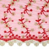Tessuto francese africano in rilievo del merletto di colore rosso del vino per la cerimonia nuziale di Aso Ebi