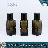 frasco de vidro cosmético do pulverizador de perfume do retângulo 100ml com tampão preto