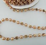 Rhinestone decoración de la cadena de la copa de cristal para vestir