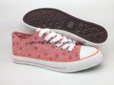 Цветок напечатал холстину шнурует вверх вулканизированный ботинок для женщин