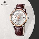 Relógios militares impermeáveis em couro genuíno para homens, Relógio de quartzo traseiro de aço inoxidável 72831