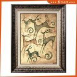 Pittura di arte dei cervi di Sika con la pittura a olio della tela di canapa del blocco per grafici