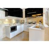 U字型現代白くおよび黒いラッカー終わりの食器棚