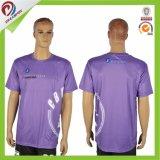 Camiseta de encargo 100% del collar del cuello de la impresión llena V de la sublimación del poliester