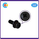 GB/DIN/JIS/ANSI Kohlenstoffstahl/aus rostfreiem Stahl Schwarz-Zinc/4.8/8.8/10.9 galvanisierte Kreuzkopfwannen-Kopf-Kombinations-Schraube