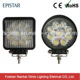 Venta caliente 4 pulgadas 27W/redondo cuadrado de luz LED de trabajo con E-MARK aprobado