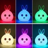 Éclairages LED mignons de silicium de lampe de chevet d'animaux, lumière de commutateur de détecteur de contact d'enfants