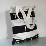方法余暇の白黒浜のしまのあるキャンバス袋