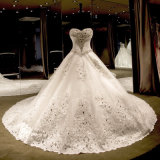 Luxo Crystal Beading Vestido De Noiva Vintage Sweetheart Cathedral Ball-Gown (Dream-100092)