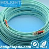 LC Duplex Om3 10g 3.0mm Cable de conexión de fibra óptica Aqua