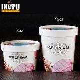 Tazón de fuente de papel impreso insignia del helado