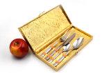 Vaisselle en bloc réglée d'acier inoxydable de vaisselle argentée d'or de qualité