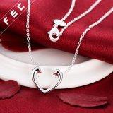 Geplateerde het zilver personaliseerde de Open Halsband van de Tegenhanger van het Hart voor Vrouwen