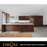 Cabinas de cocina de la chapa de madera sólida del diseño de los muebles de la cocina de las ideas de las cabinas de cocina nuevas Tivo-0069V