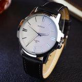 Relógio de pulso dos homens da cinta de couro do relógio do negócio de forma de H332 Yazole