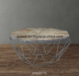 금속 프레임을%s 가진 개선된 느릅나무 나무로 되는 커피용 탁자