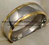 Ring van het Titanium van CZ van de Juwelen van Shineme de Comfortabele 18k Goud Geplateerde
