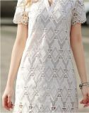 El verano de patrón geométrico encajes con cuello en V vestido de mujer