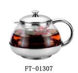 Корпус из нержавеющей стали со стеклянными кофейными чайник (футов-01307)